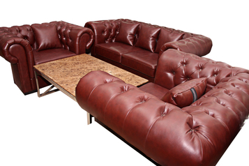 buy Chesterfield 5 Seater Wine Leather Sofa Set