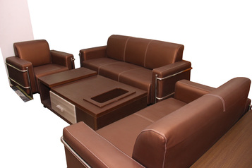 buy Leather Office Board 6 Seater Golden Brown  Sofa Set