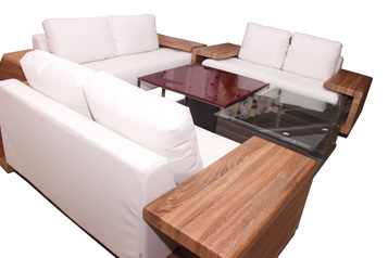 buy White Lobo 7 Seater Leather Sofa Set