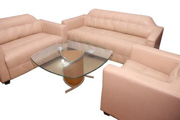 buy Leather Alvin Cream 6 Seater Sofa Set