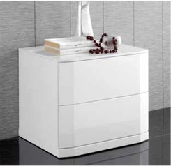 White highgloss night stand with drawer.index