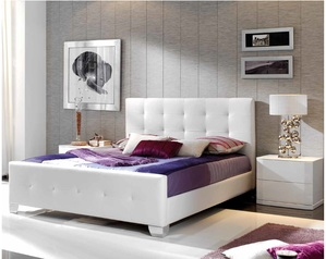 buy Karina White Leather Queen Bed
