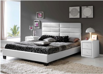 buy Isabella White Leather Bed