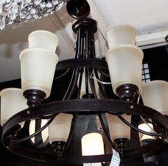 buy brown & crème 9  Light  chandelier - 13561/9
