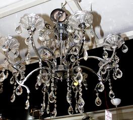 buy Silver Glass 8  Light Chandelier - 05582/8