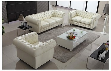 Buy White Leather Modern Sofa Set (complete Set)  17F24.020