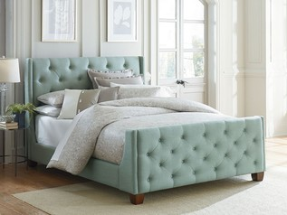 buy Ocean Blue padded Bed With Buttons - 17E14.013