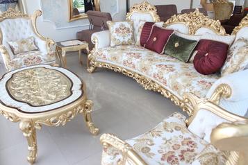 buy White & Gold Truva sofa set (10 sitters, 2 side stools & center table)