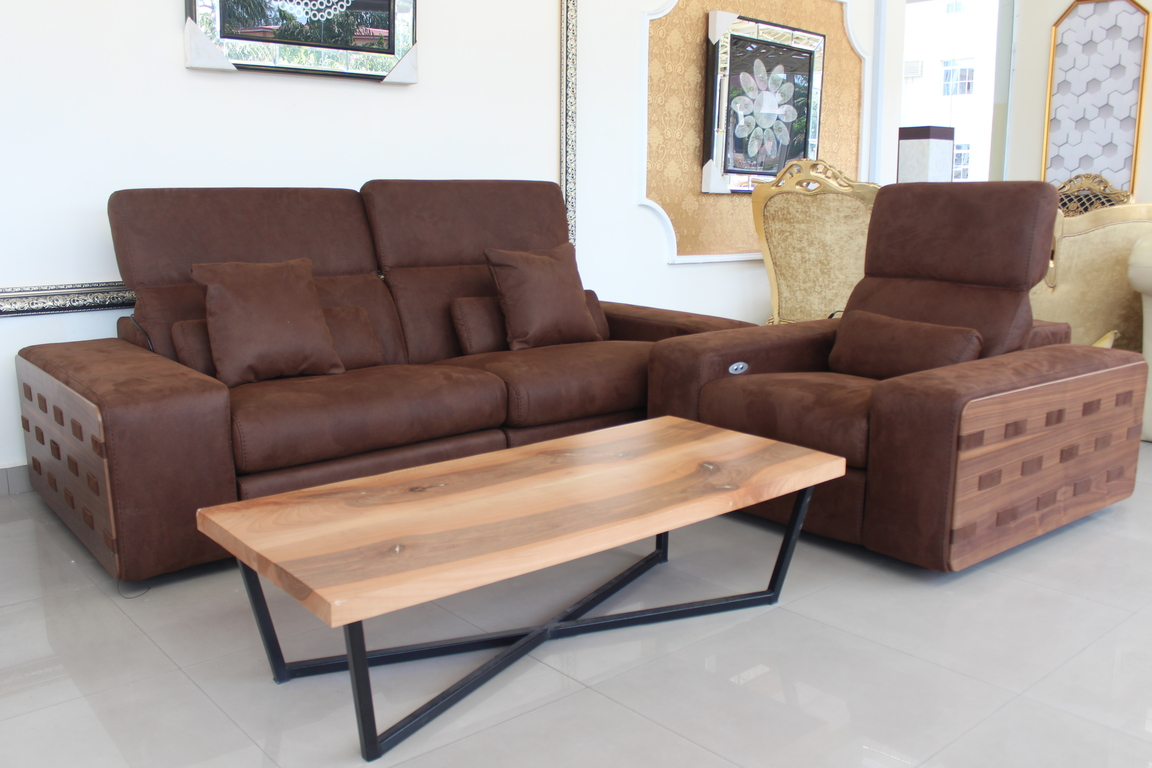 Coffee Brown Recliner Sofa Set 7 Sitters Center Table On  ~ Sofa Set With Center Table