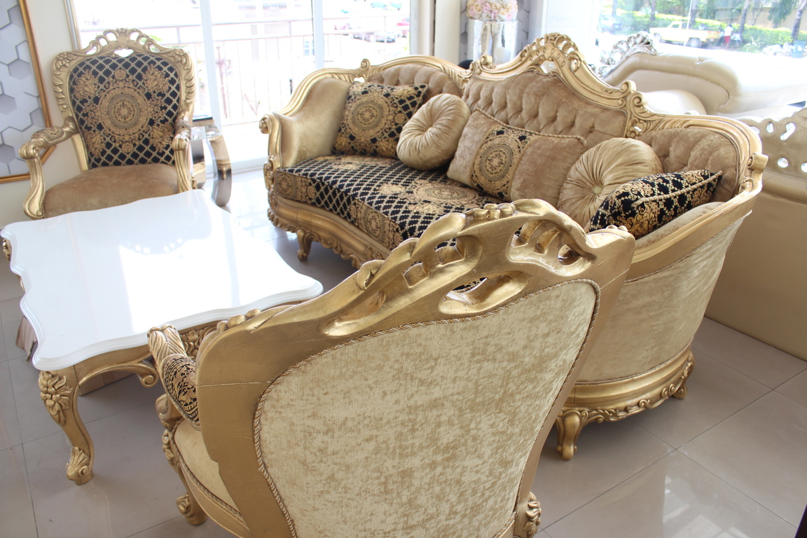 Gold Black Royal Sofa Set 8 Sitters 2 Side Stools Center  ~ Sofa Set With Center Table