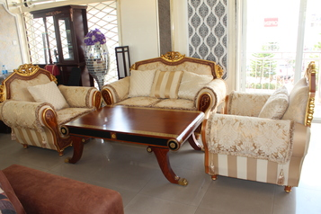 buy Cream & Brown Mila sofa set (7 sitters & center table)