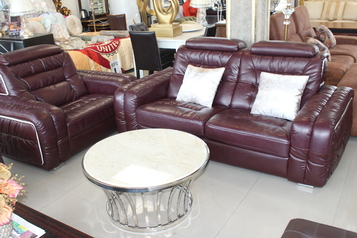 buy Brown Leather Sofa  set (7 sitters & center table)