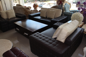 buy  Brown & Cream Leather Sofa set (7 sitters, 2 side stools & center table)