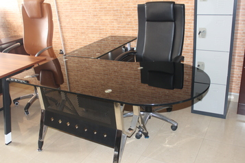 buy Office Glass Table with Single Chair