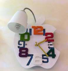 buy White Apple Clock Wall Lamp MB971-1