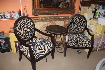 buy Tiger Sofa Set and Single Stools (2 sitters)  Chair=3.2ft by 2.2ft