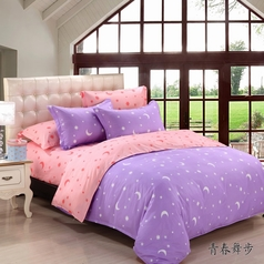 China pink   purple star   moon bedsheet.index