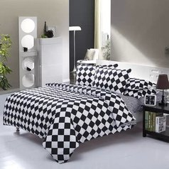 China white   black plaid bedsheet.index