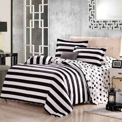 Egyptian strip black   white   star bedsheet.index