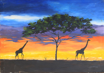 buy 2  Giraffes (Black) 1X3 Feet