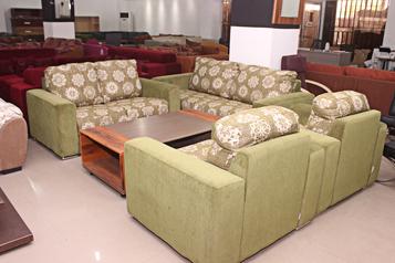 buy Fabric Tara Foral Green  7 Seater Sofa Set