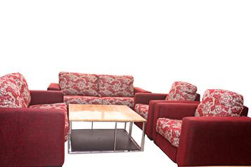 buy Fabric Tara Wine and Gold 7 Seater Sofa Set