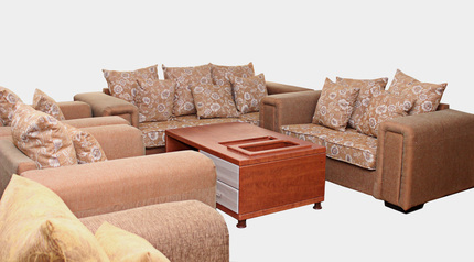 buy Fabric Queen Gold 7 Seater Sofa Set