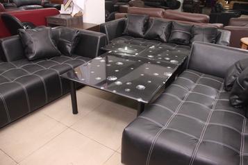 buy Leather Nero 7 Seater Black Sofa Set