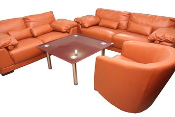 buy Eco 7 Seater Orange Leather Sofa Set