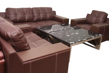 buy Clara 7 Seater Coffee Brown Leather Sofa Set