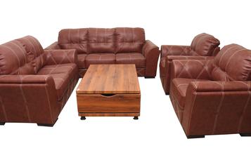 buy Gloria Brown 7 Seater Leather Sofa Set