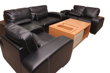 buy Nevada 7 Seater Black Leather Sofa